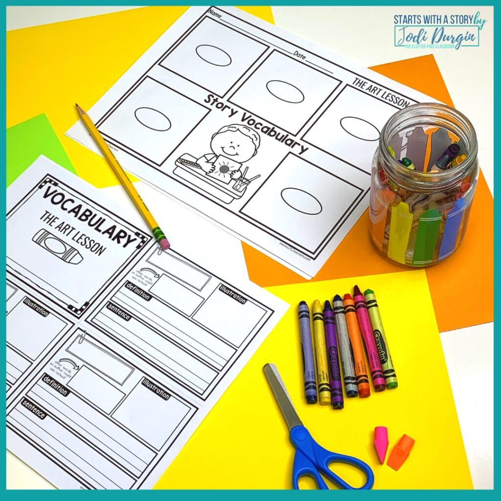 two worksheets based on the book, The Art Lesson