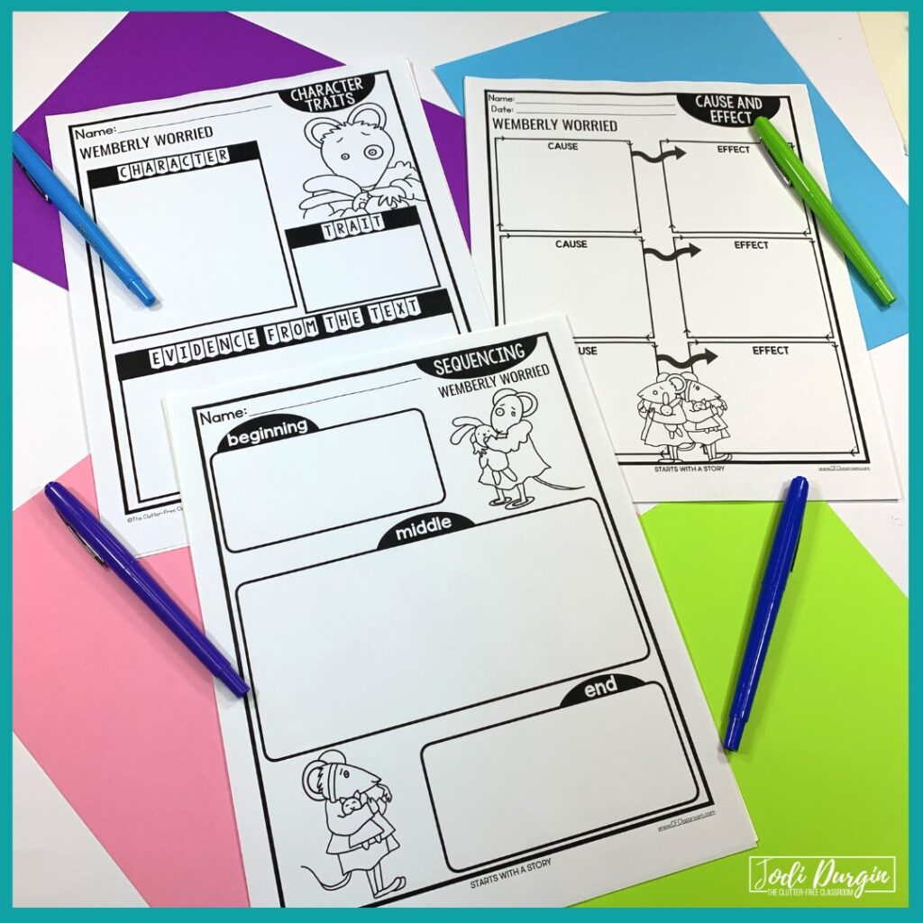 three worksheets based on the book, Wemberly Worried