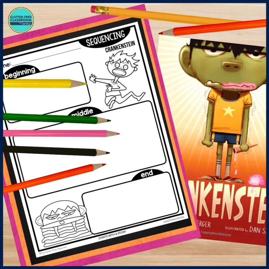 Crankenstein book cover and sequencing worksheet