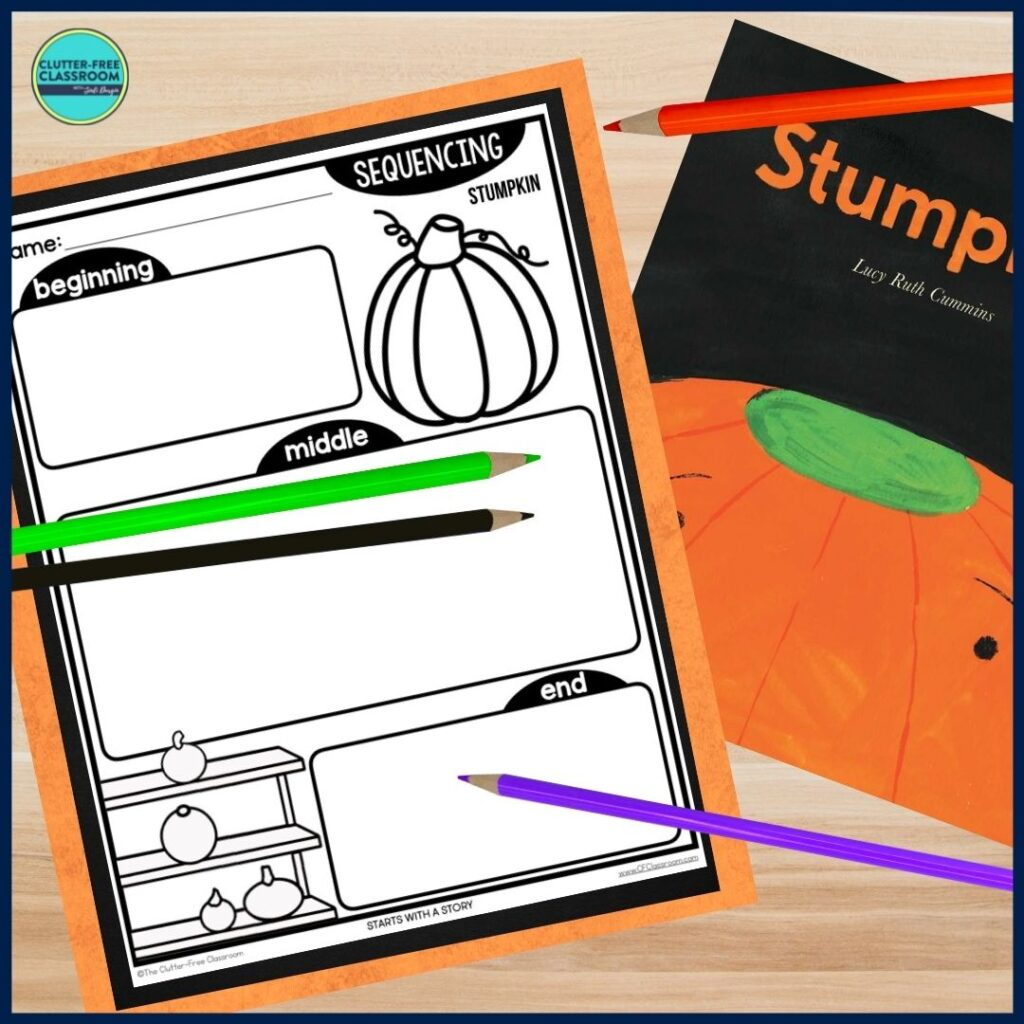 Stumpkin book cover and sequencing worksheet