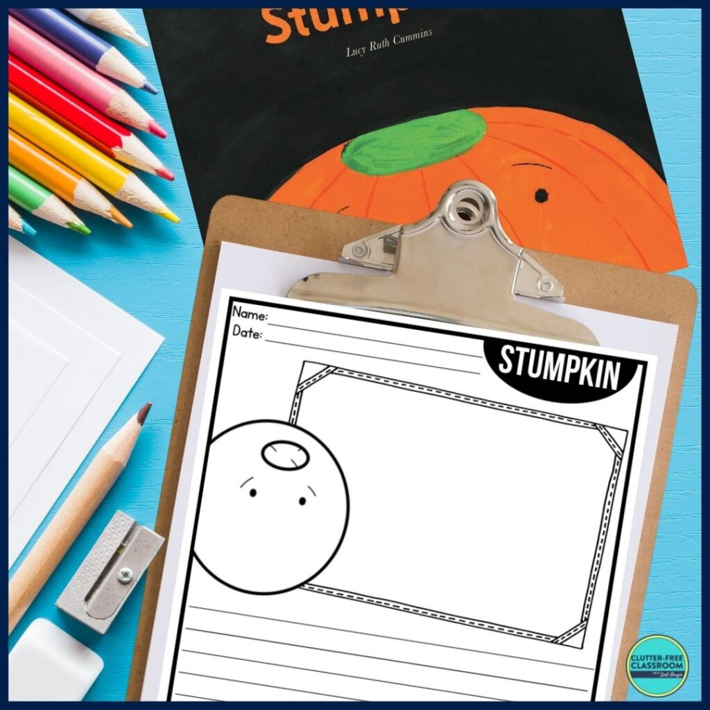 Stumpkin book cover and writing paper