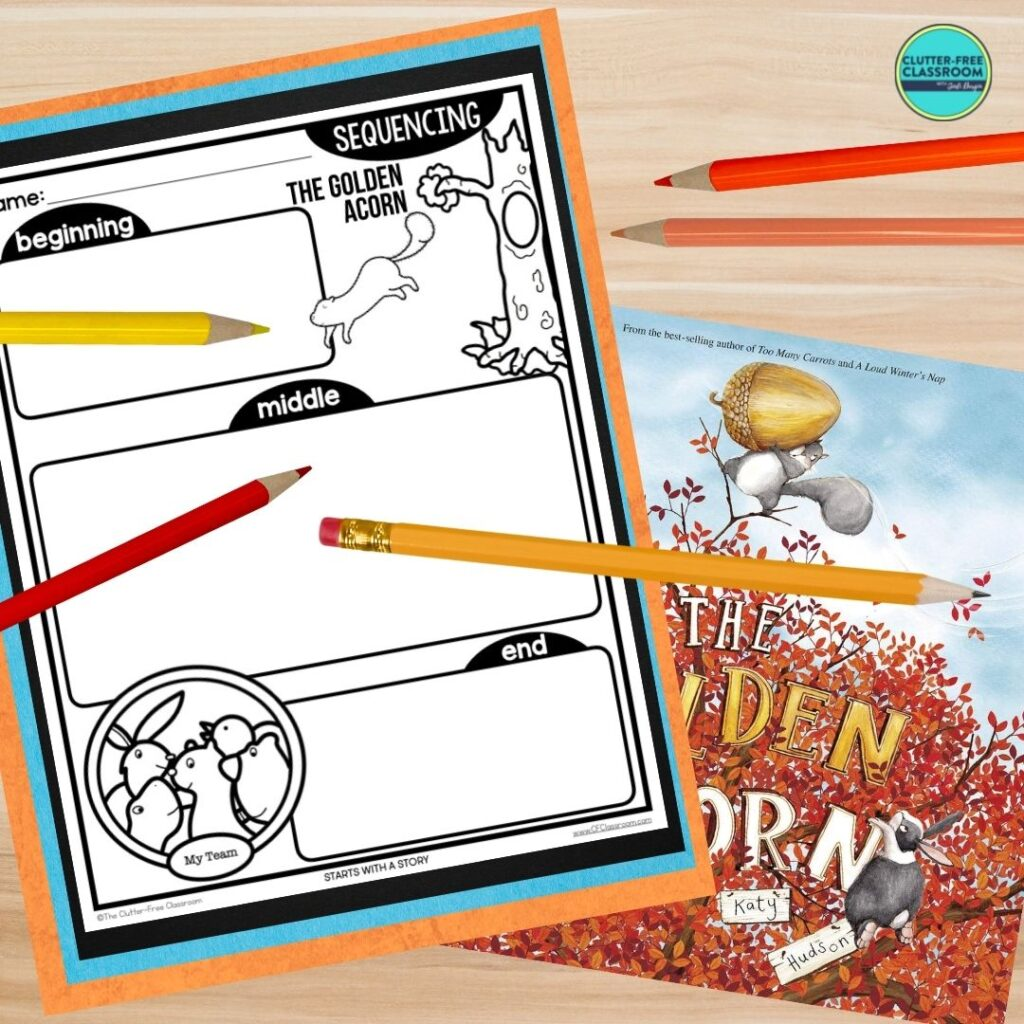 The Golden Acorn book cover and sequencing worksheet