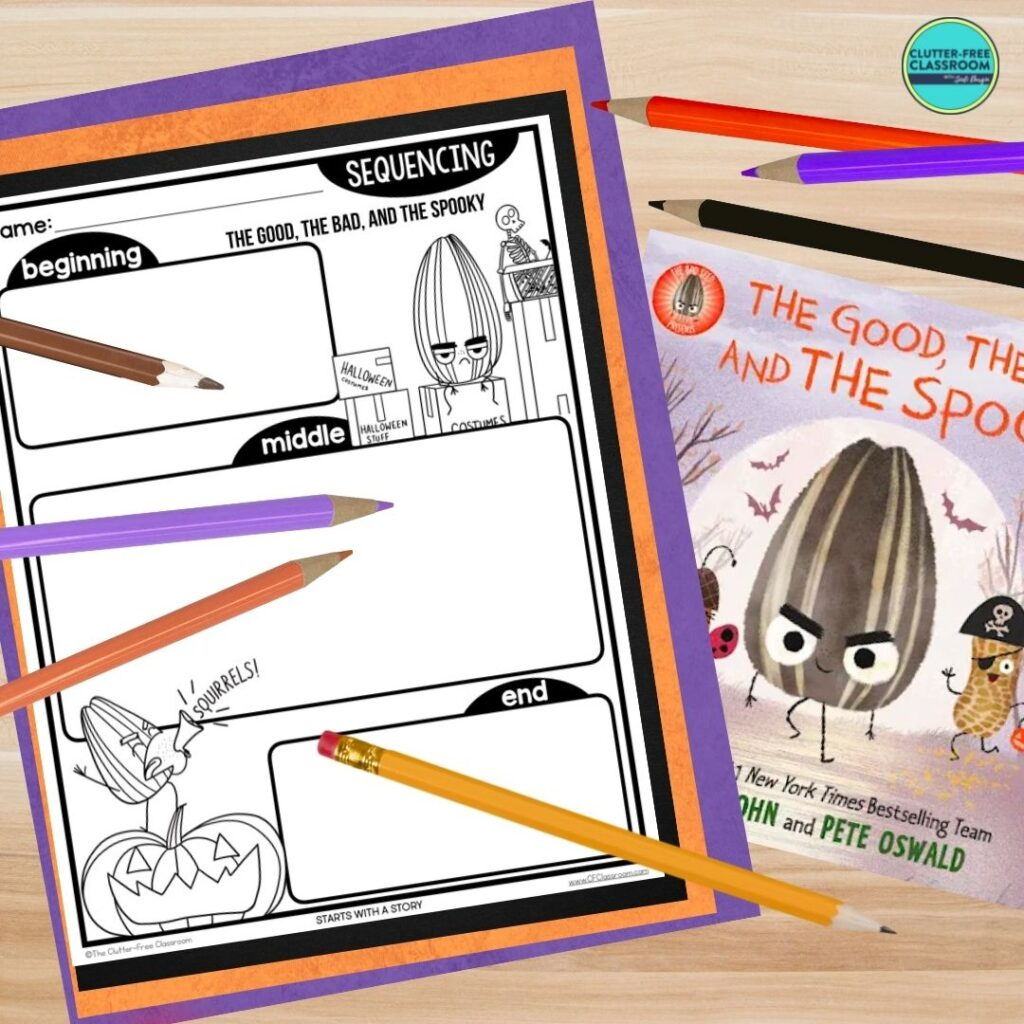 The Good, the Bad, and the Spooky book cover and sequencing worksheet