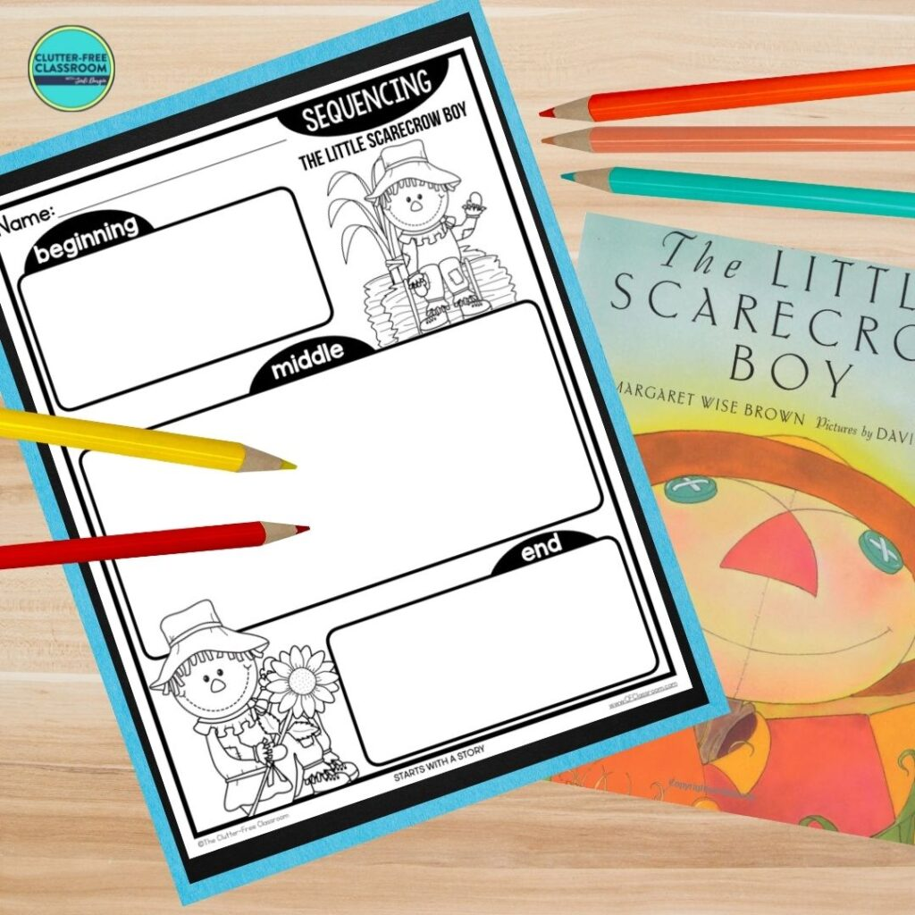 The Little Scarecrow Boy book cover and sequencing worksheet