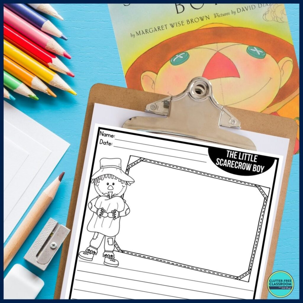 The Little Scarecrow Boy book cover and writing paper