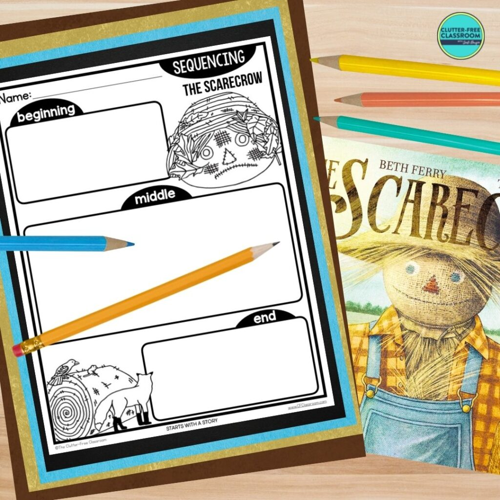 The Scarecrow book cover and sequencing worksheet