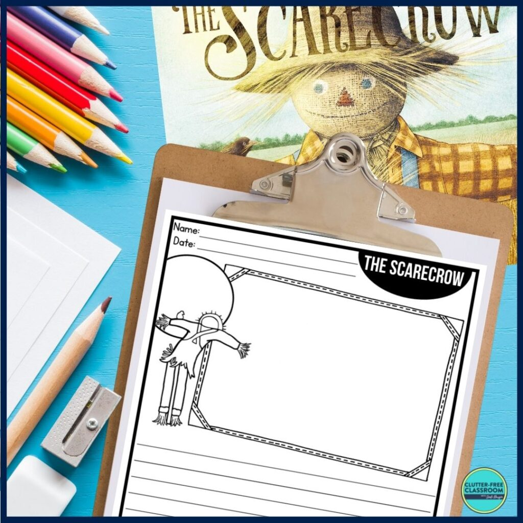 The Scarecrow book cover and writing paper