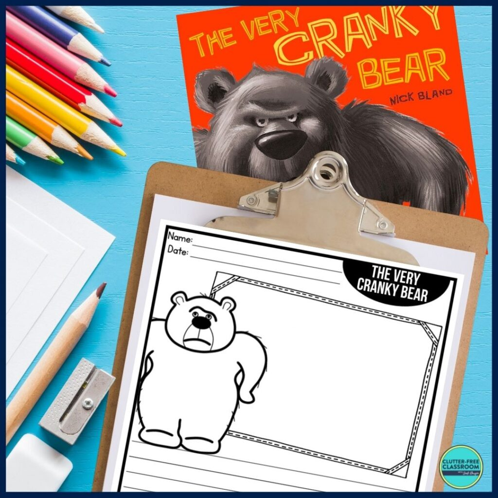 The Very Cranky Bear book cover and writing paper