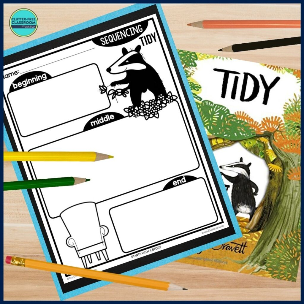 Tidy book cover and sequencing worksheet